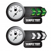 fuel gauge green and white arrow nameplates