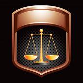 justice scales bronze display