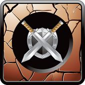 swords and shield bronze cracked web button