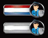 police officer striped banners