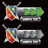 royal shield and swords green and gray arrow nameplates