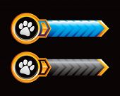 paw print blue and black arrows