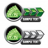 dollar bills green and white arrow nameplates