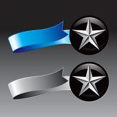estrela de prata em fitas azuis e cinza