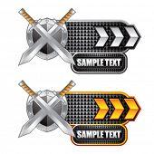 espadas e escudo indicadoras de seta branca e ouro
