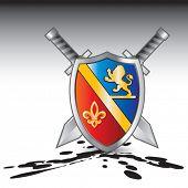royal shield and swords oil splattered ground