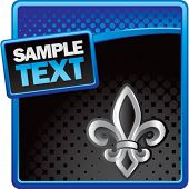fleur de lis blue and black halftone advertisement