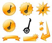 Segway  Icon on Orange Burst Banners and Medals Original Vector Illustration
