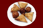 Vegetable Samosas, Onion Bhajis, & Vegetable Pakoras