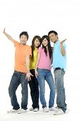 image of teenage boys  - four happy asian young people - JPG