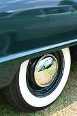 Classic Whitewall Tires And Car Reflection