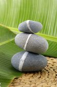 Zen stones on banana leaf