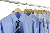 Blue dress Shirt and Tie on Hangers