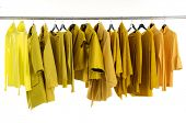 Yellow female jacket on hangers at the show