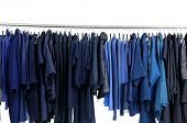 clothe on hanger in a row