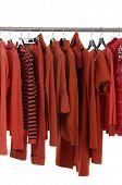 Fashion red clothing rack display