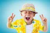 Child Shouts Hawaiian Shirt Straw Hatnisolated Blue poster