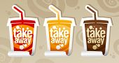 Take away stickers in form of take away cup.