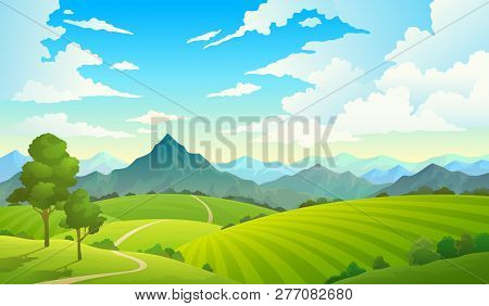 Meadows With Mountains Landscape Hill
