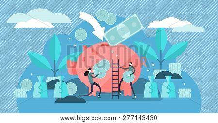 Money Saving Vector Illustration Flat