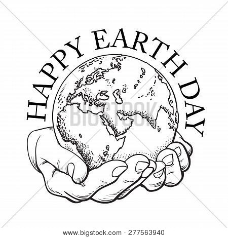 Happy Earth Day Typography Globe