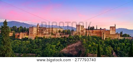 poster of Alhambra fortress sunset in Granada of Spain at andalusian