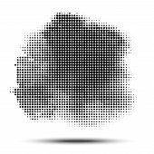 Halftone Circle Pattern. Grunge Spot Using Halftone Dots Texture. Vector Illustration. poster