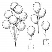 Set Of Different Balloons. Inflatable Balls On A String. Inflatable Balloons With A Card For Text. S poster