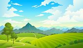 Meadows With Mountains. Landscape Hill Field Mountain Land Sky Wild Nature Grass Forest Countryside  poster
