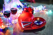 Valentines Dinner Romantic Love Concept - Romantic Table Setting Decorated With Fork Spoon On Heart  poster
