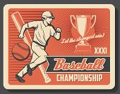 Baseball Or Softball Sport Game Player With Ball, Bat And Winner Trophy Cup. Running Batter And Spor poster