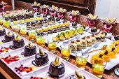 Close Up Delicious Dessert Pastry Cakes Fresh Colourful Sweet Berry Desserts, Beautifull Decorated I poster