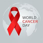 Cancer Day Concept. World Awareness Ribbon Of Cancer. Preventive Health Care Vector Banner. Illustra poster