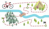 Bike Route Map. Cycling Trip Road, Country Path. Bike Adventure Tour Vector Map. Illustration Of Adv poster