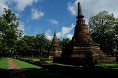 Wat Phra That With Buddha Statues Historical Park In Kamphaeng P poster