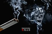 Skull From Cigarette Smoke On A Black Background, Cigarettes Close Up. Creative Background. The Conc poster