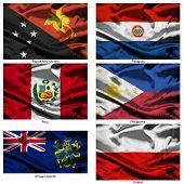 Coleção de bandeiras do mundo de tecido