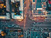 Aerial Top View Of City Asphalt Road With Lot Of Vehicles Or Car Traffic And Buildings, Modern Urban poster