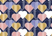Hearts Color Seamless Vector Pattern. Abstract Background With Linear Shapes. Romantic Postcard Orna poster