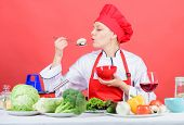 Eat Healthy. Healthy Ration. Woman Professional Chef Hold Spoon With Raw Mushroom. Healthy Vegetaria poster