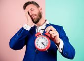 Man Bearded Sleepy Businessman Hold Clock. Stress Concept. Mature Man Beard Tired Because Of Work. B poster