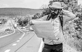 Carry Good Map. Tourist Backpacker Looks At Map Choosing Travel Destination At Road. Allow Recognize poster