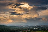 Landscape Of Dramatic Clouds Sky Over The City At Chiang Mai Of Thailand., Stormy Atmosphere Weather poster