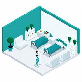 Fashion Isometric People, A Hospital Room, The Chamber Is A Front View, Staff, Hospital Staff, A Nur poster
