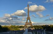 Eiffel Tower From Trocadero. Paris, France. Blue Sky With Clouds, Sunset. poster
