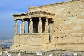 Figures Of The Caryatid Porch Of The Erechtheion On The Acropolis At Athens. Greece poster