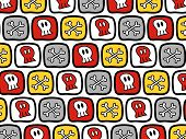 Cartoon Skulls And Bones Pattern (Vector)