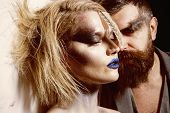 Makeup Couple. Sensual Woman And Bearded Man With Makeup And Stylish Hair. We Makeup Your Face. Make poster
