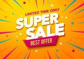 Vector Illustration Super Sale Banner Template Design, Big Sales Special Offer. End Of Season Party  poster
