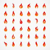 Fire Flames Silhouettes. Different Fire Icons In Flat Style For Design Template poster